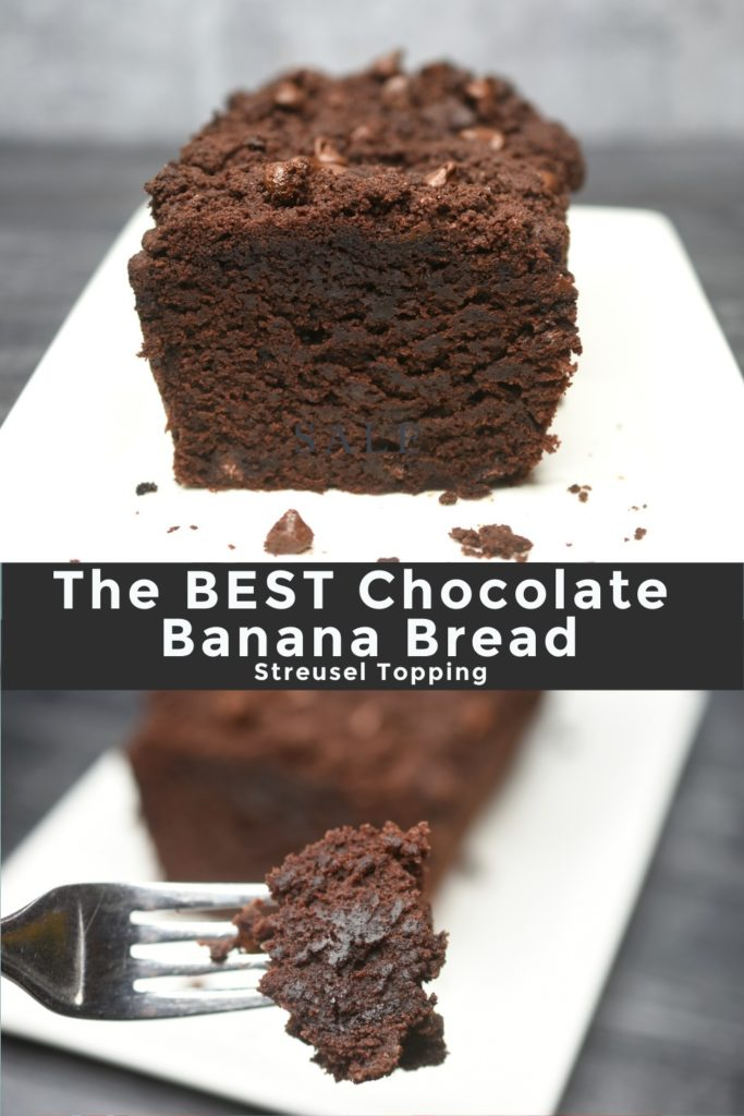 Pictured a Pinterest Image of Chocolate Banana Bread, both sliced and on a fork