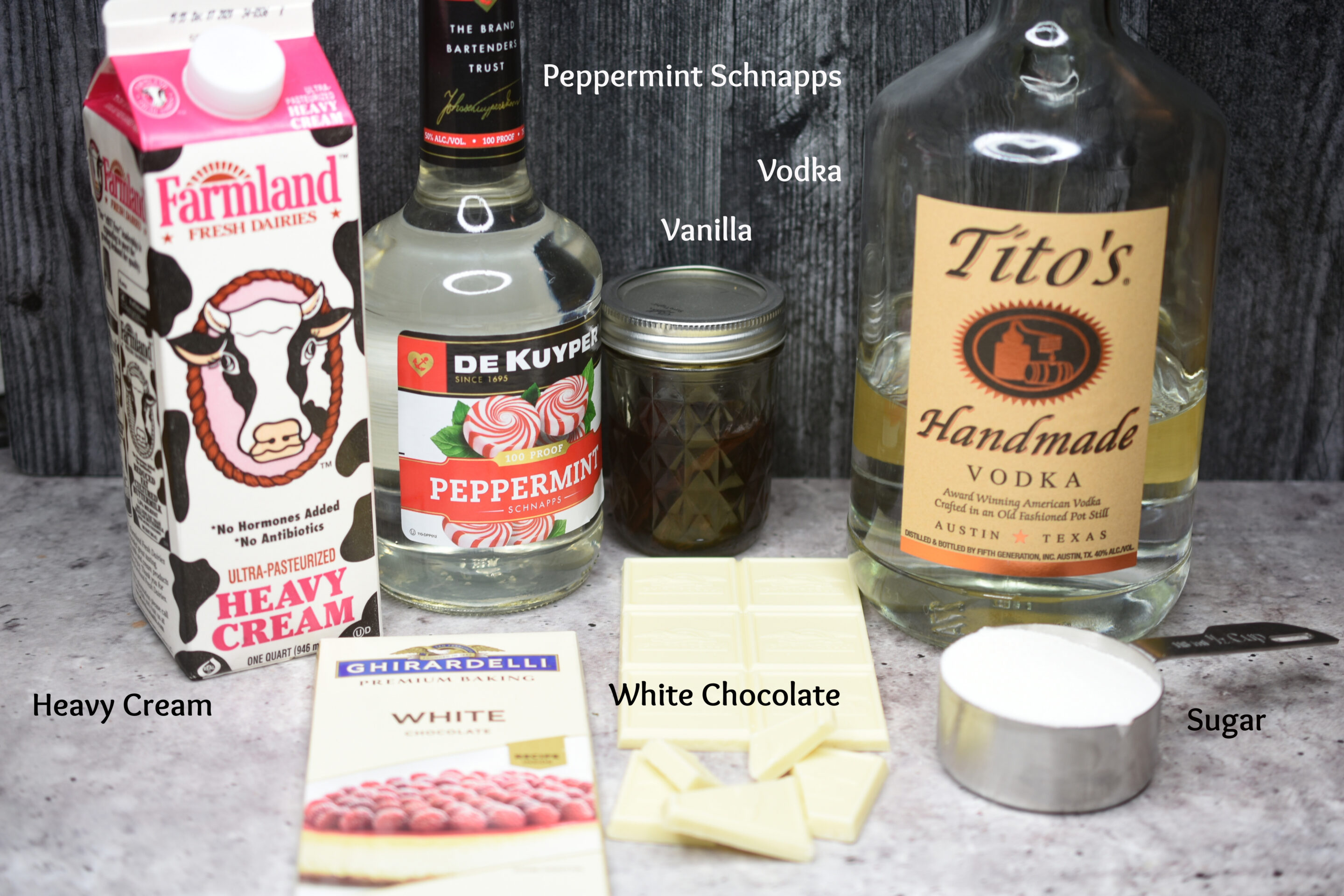 ingredients for Peppermint White Chocolate Martinis