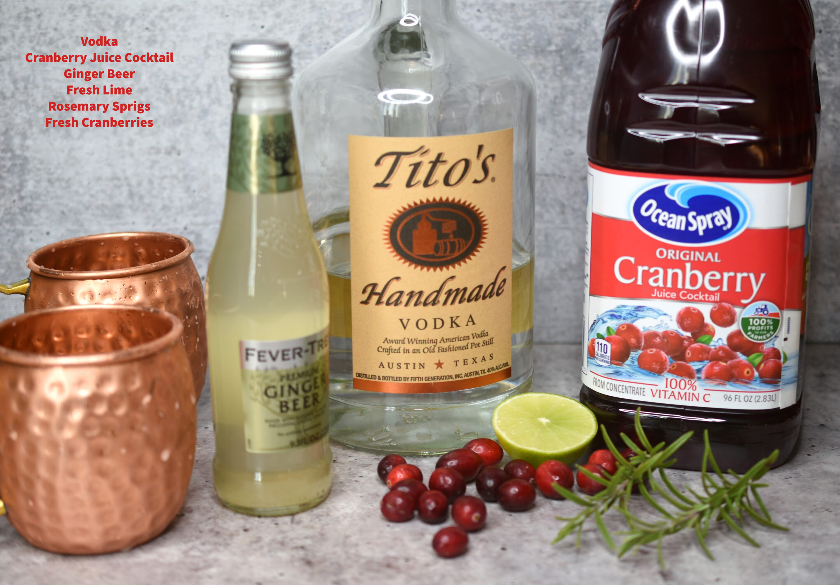 Ingredients for making Cranberry Moscow Mule